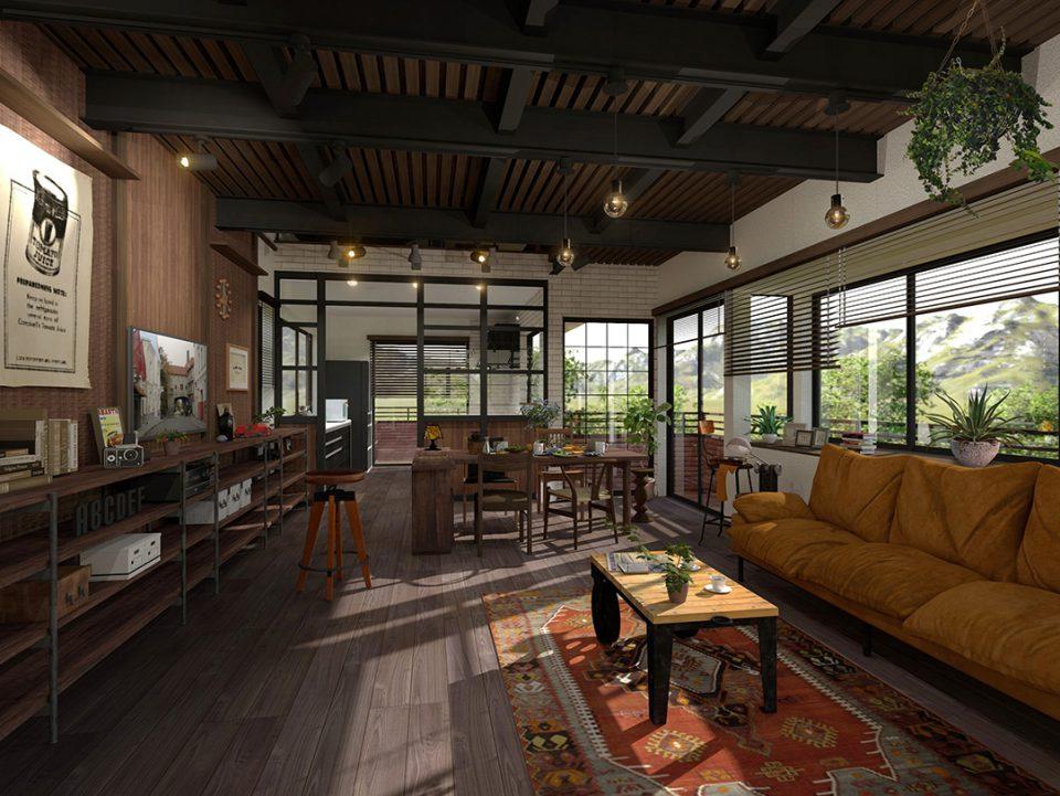 郊外の倉庫をリノベーションしたような住宅