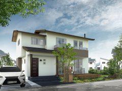 木や床タイルの質感にこだわりを持たせた戸建て住宅(WIH&V-Ray)