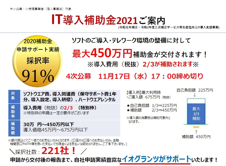 【IT導入補助金2021】特別枠C類型(補助率2/3)のご案内